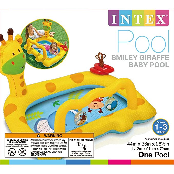 SWASH Intex Smiley Inflatable Giraffe Baby Pool, 44