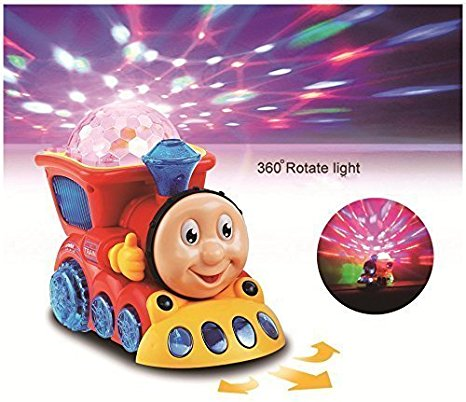 spincart™Musical Train Engine Toy Bump And Go Action With 4D Light And Sound For Kids (Multi Colour